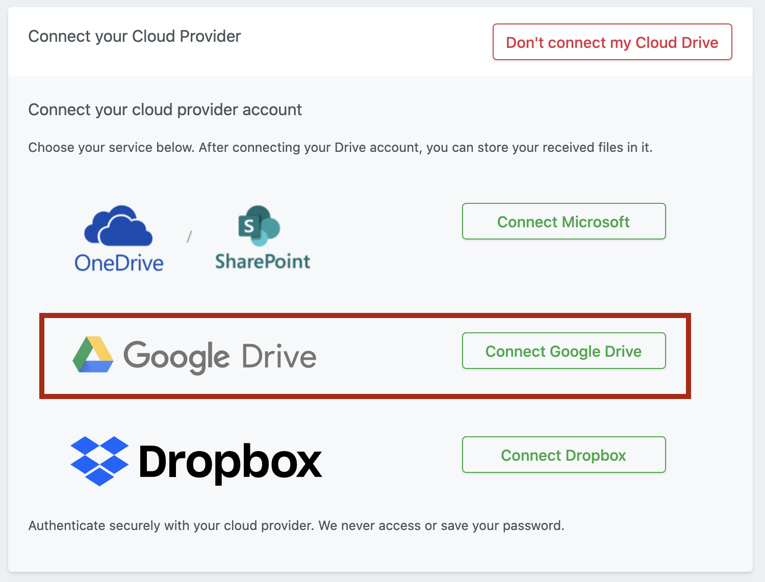 Example of native integration with Google Drive by File Request Pro
