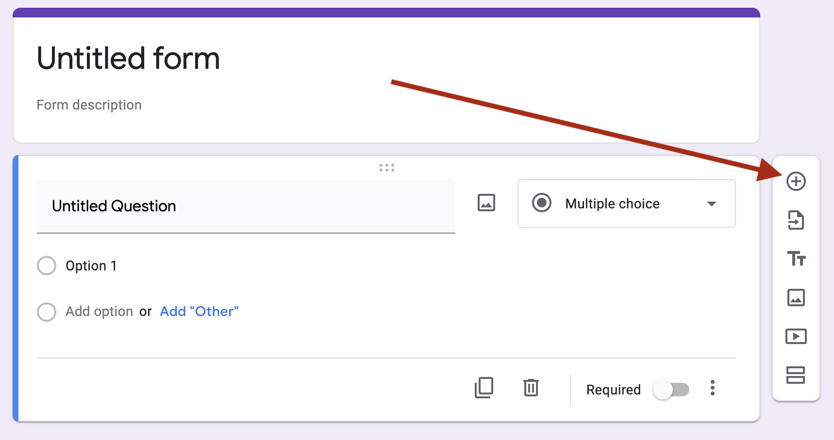 Use the 'add question' button to the right of the interface