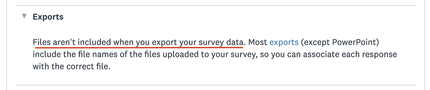 Example of SurveyMonkey limitations in terms of uploading files